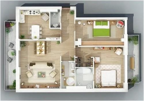 Denah Rumah 3D Ukuran 7x9 Meter