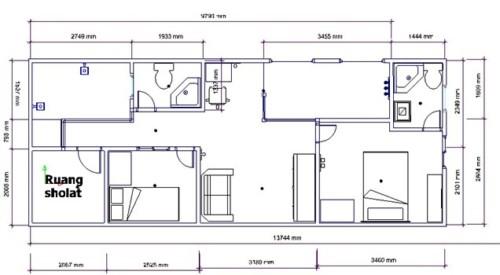 Denah Contoh Rumah Minimalis Memanjang Ke Samping