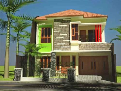 Rumah dua lantai dengan batuan alam