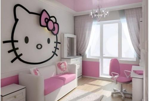 Desain Gambar Kamar Tidur Hello Kitty Anak Perempuan 4 - 25 Desain Gambar Kamar Tidur Hello Kitty Anak Perempuan