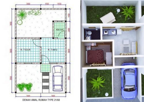 Denah Rumah Minimalis Type 21 6 - 16 Desain Rumah Minimalis Type 21 Kecil dan Mungil