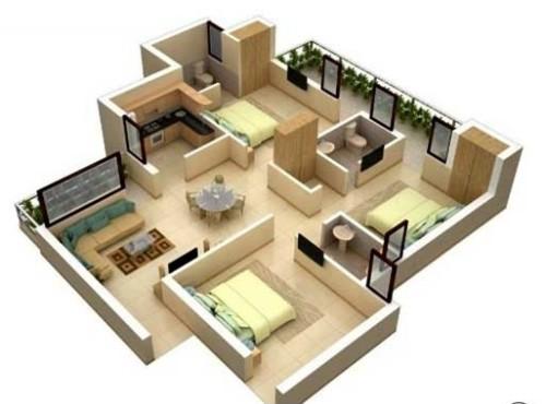 Sketsa Rumah Minimalis Type 45 3D