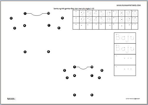 Menghubungkan titik angka 1-10 gambar Baju