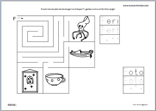 Puzzle Maze huruf depan F untuk anak gambar cumi-cumi feri foto cangkir