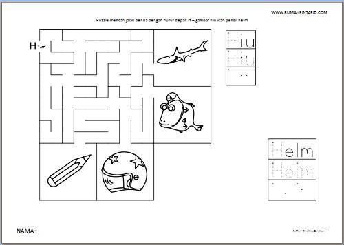 Puzzle Maze huruf depan H untuk anak gambar hiu ikan pensil helm