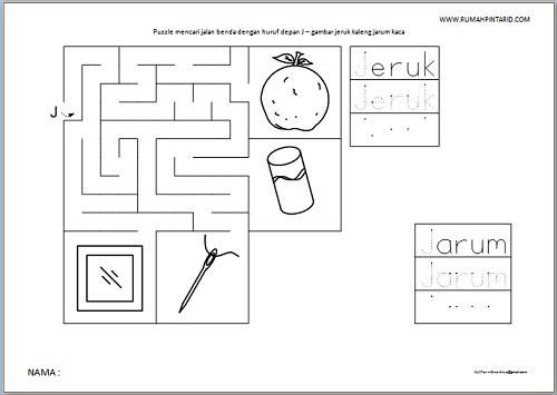 Puzzle Maze huruf depan J untuk anak gambar jeruk kaleng jarum kaca
