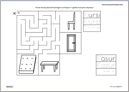 Puzzle Maze huruf depan K untuk anak gambar kursi pintu meja kasur