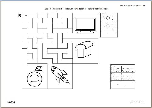 Puzzle Maze huruf depan R untuk anak Televisi Roti Roket Tidur