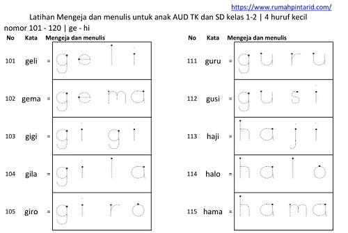 Belajar mengeja dan menulis untuk anak SD AUD