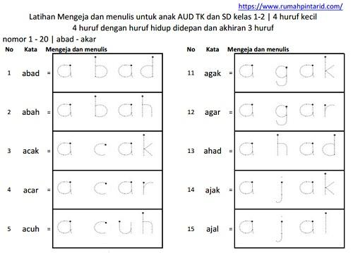 Latihan membaca kata akhiran 3 huruf 1-20