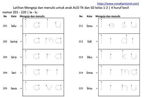 modul Latihan membaca dan menulis untuk anak TK SD AUD