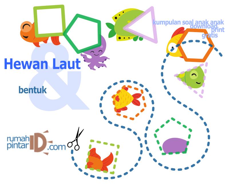 bentuk geometri dasar untuk anak-anak dan hewan laut