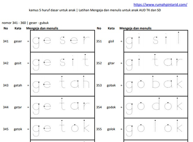 Belajar Menulis Huruf dengan Huruf Titik Titik 3