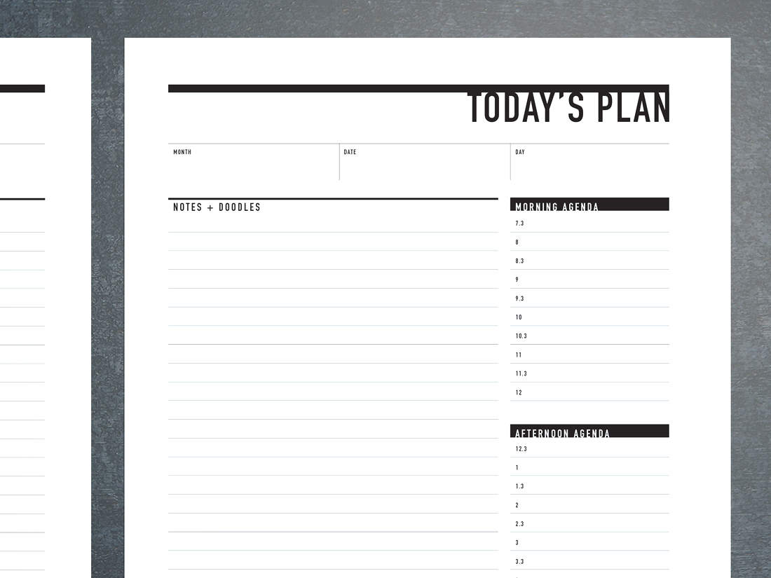 Printable Daily Agenda with Notes + Doodles | Rumble Design Store