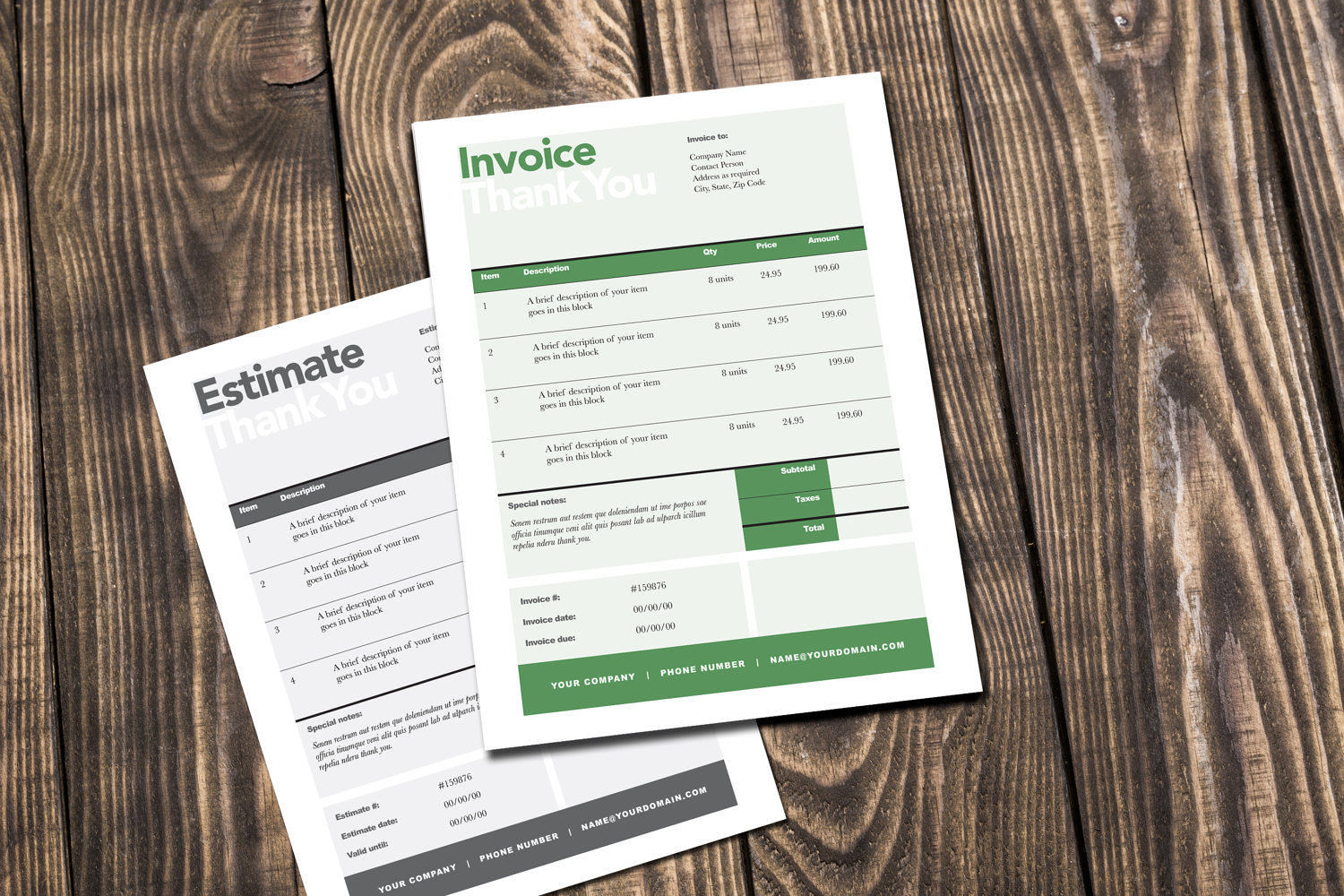 Simple Invoice and Estimate Template   Rumble Design Store Editable Invoice   Estimate Template