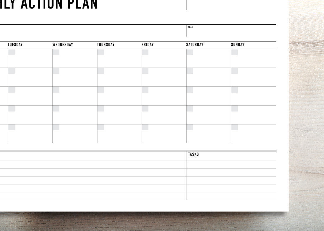 Printable Monthly Action Planner Agenda Landscape Rumble