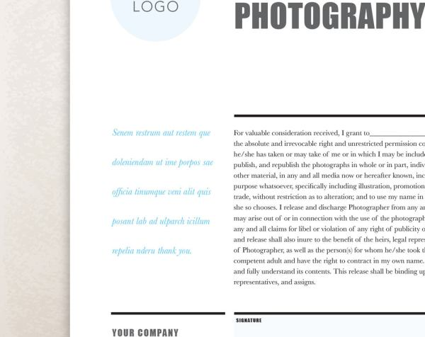 Editable Photography Contract  Release Form  Rumble Design Store
