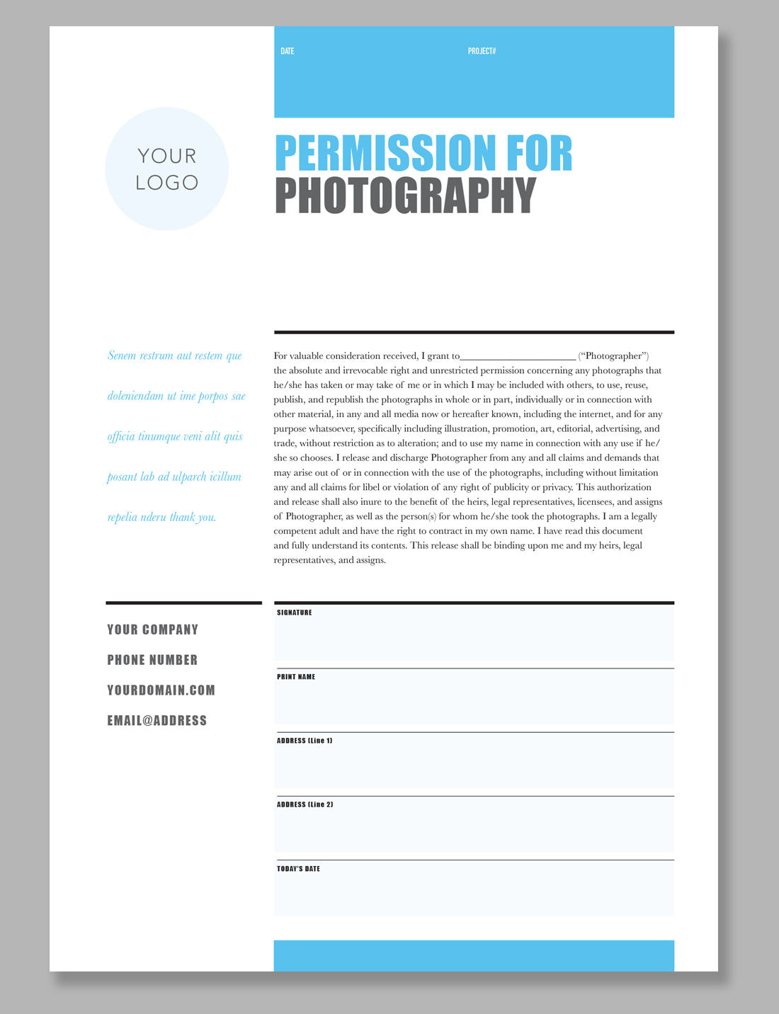 printable photography contract model release permission form