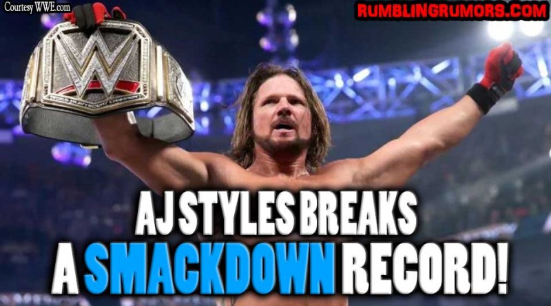 AJ Styles Breaks a Smackdown Record!. On the last Smackdown Live AJ Styles broke a major record only held by one other WWE Superstar.