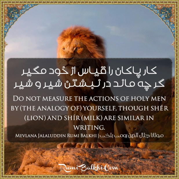Do Not Measure The Actions Of Holy Men By The Analogy Of Yourself Though Sher Lion And Shir Milk Are Similar In Writing