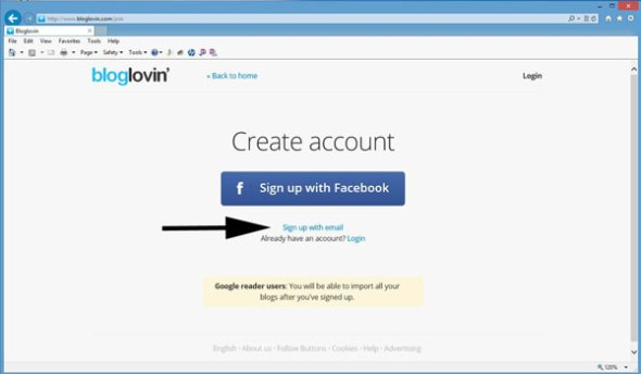 BloglovinLoginScreen