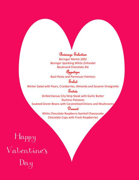 Valentine-Menu-Card