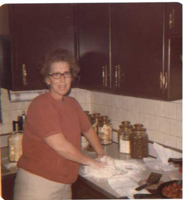 Nena making cinnamon rolls