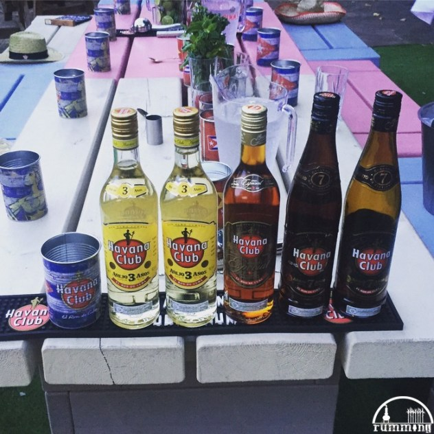 The table set with rum and mojito ingredients
