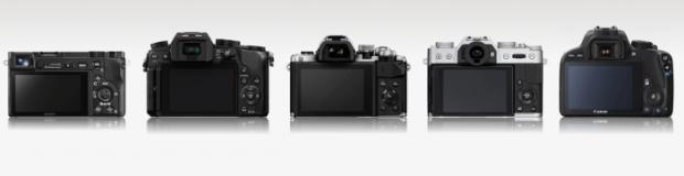Sony A6000, Panasonic G7, Olympus E-M10 II, Fujifilm X-T10, Canon 100D (Belakang)