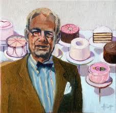 Wayne Thiebaud Still Life Painting of a man at a bakery