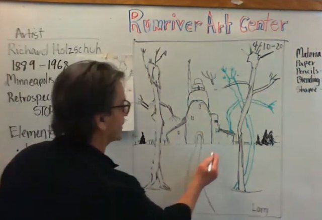 Instructor stands before a white board teaching drawing technique.