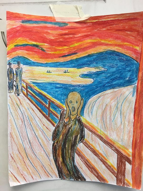Drawing of Edvard Munch's The Scream