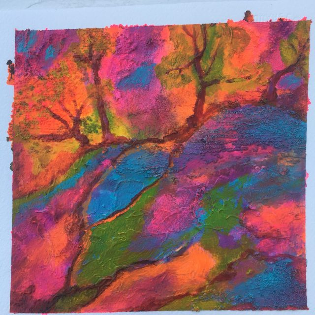 Colorful acrylic painting of a tree branch