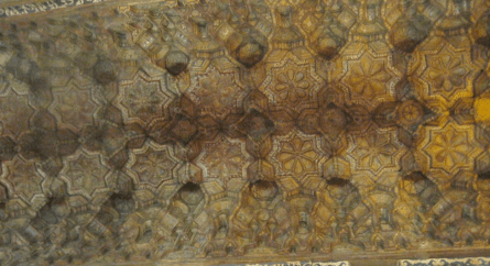 Islamic Muqarnas architectural-style in the ceiling of the Norman Palace (around every 8-pointed star are Arabic inscriptions)