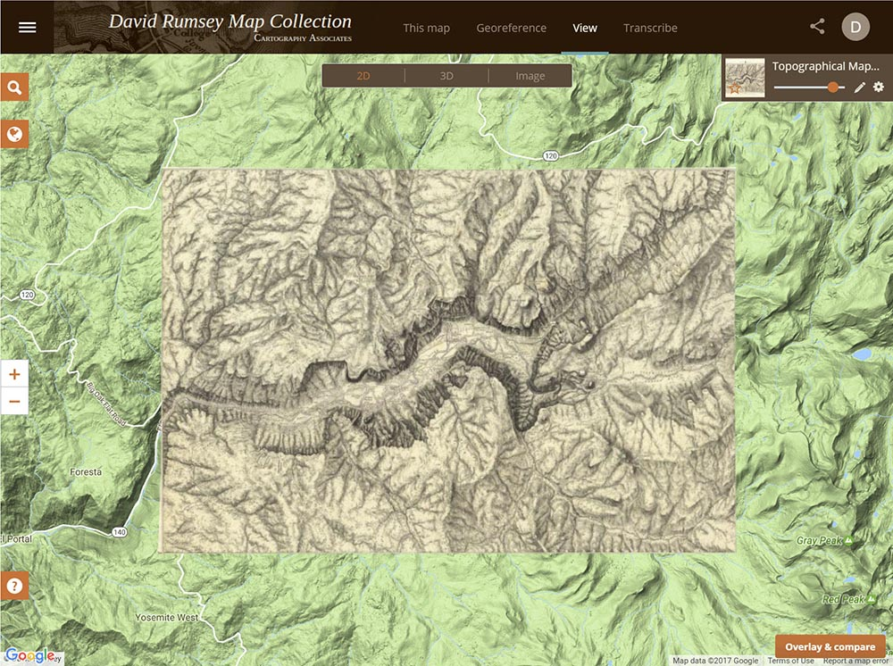 David Rumsey Historical Map Collection   Georeferencer The Georeferencer View This Map page below shows the 2D view of the  Yosemite Map 1883 with transparency slider  Click on the image to go to the  View This