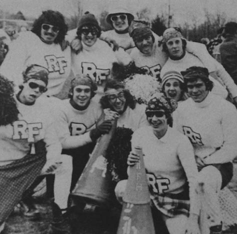 The role reversed cheerleaders of RFH Powder Puff Football 1977. Photo/RFH yearbook screenshot
