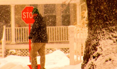 The shoveling started again after an hour's worth of heavy snow blanketed the Rumson-Fair Haven area. Photo/Elaine Van Develde