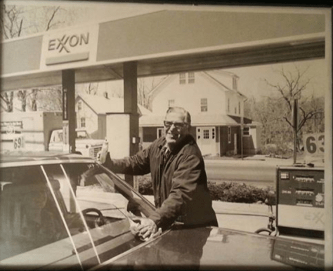 Ray Miller at his Exxon station at the corner of River Road and Smith Street Photo/courtesy of Peggy Miller