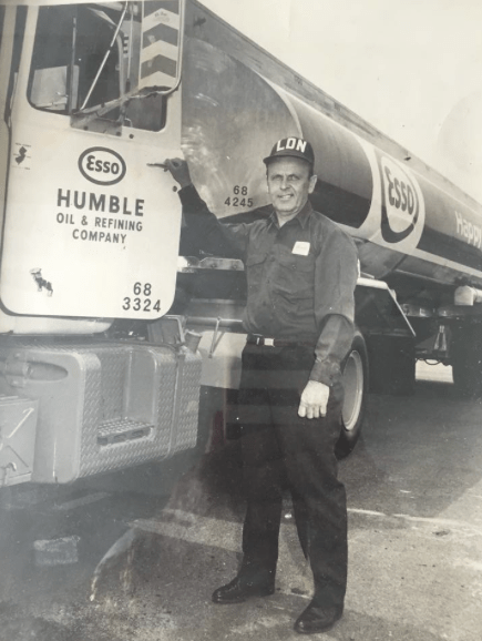 Longtime Fair Havenite Al Robbins delivering fuel to Ray Miller's Esso station on River Road circa 1950s Photo/courtesy of Kathy Robbins