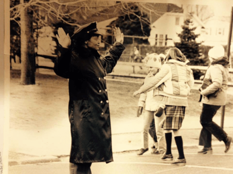 Dorothy Breckenridge crossing children at Knollwood School circa 1960s.