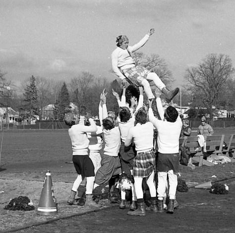 The boy cheerleaders of RFH Powder Puff Football 1977 Photo/George Day