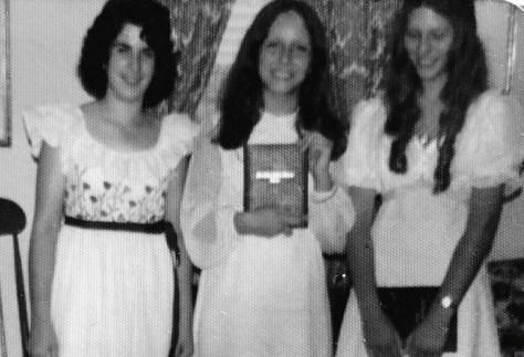 Knollwood Class of '74 graduation fashionistas Stephanie DeSesa, Elaine Van Develde (yours truly) and Wanda Becker. Photo/Sally Van Develde