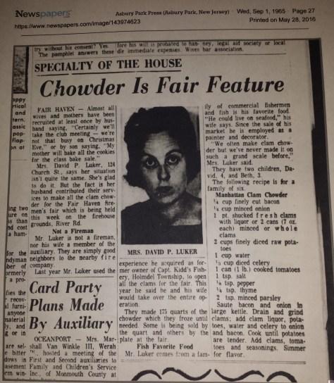 Fair Haven Firemen's Fair's chowder recipe in the Asbury Park Press circa 1965 Clipping Photo/courtesy of Dave Luker