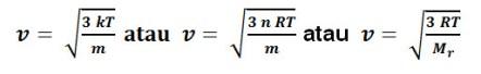 rumus kecepatan partikel pada gas ideal