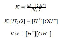 rumus pH larutan dan Ionisasi Air K=[H+ ][OH-]/[H2O] K [H2O]=[H+][OH-] Kw=[H+][OH-]