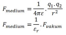 F_medium=1/4πε.(q_1.q_2)/r^2  F_medium=1/ε_r .F_vakum