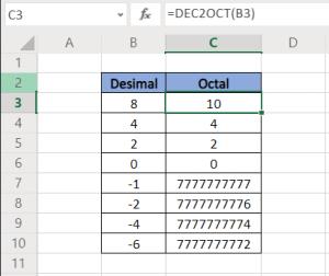 Fungsi Excel DEC2OCT