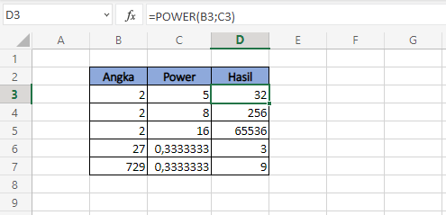 Fungsi Excel POWER