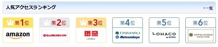 JALマイレージモールの人気アクセスランキング画像