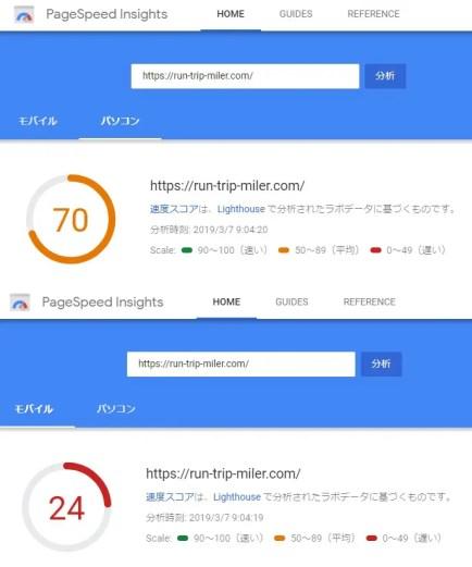 PageSpeed Insights結果 サーバー移転前
